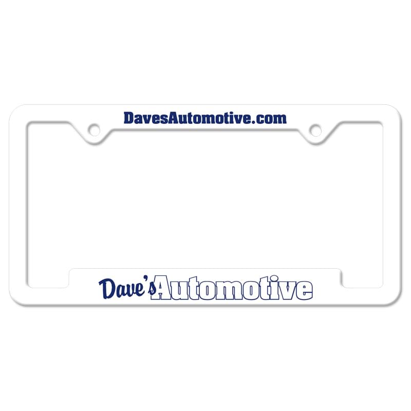 Black Auto License Frame w/ 2 Holes & Large Bottom Jutted Panel