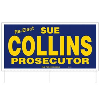 "Corrugated Plastic Sign w/ 3 Rods: 1 Color/1 Side (24""x48"")"