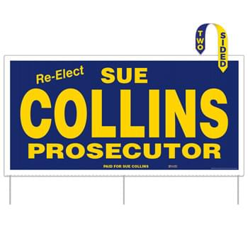 "Corrugated Plastic Sign w/ 3 Rods: 1 Color/2 Sides (24""x48"")"