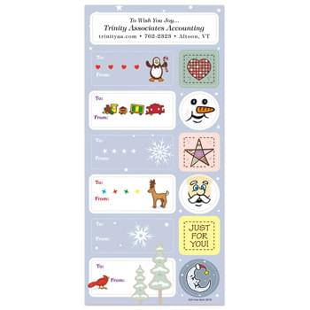 White Paper Christmas Holiday Sticker Sheet w/ 6 Labels & 6 Decorations