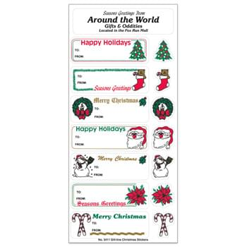 White Paper Christmas Holiday Sticker Sheet w/ 7 Labels & 7 Decorations