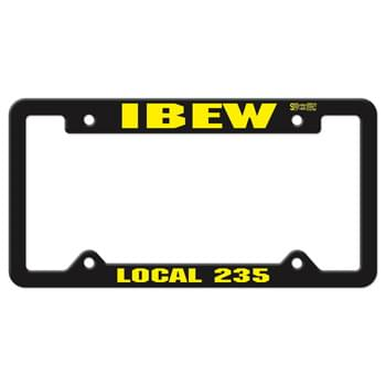 Black Auto License Frame w/ 4 Holes & Large Top Panel
