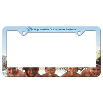 Auto License Frame Full Color w/ 4 Holes & Large Bottom Straight Panel