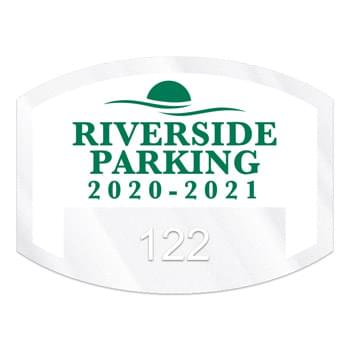 "Curved Rectangle Clear Polyester Numbered Inside Parking Permit Decal (1 1/2""x2"")"