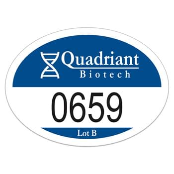"Oval White Vinyl Numbered Outside Parking Permit Decal (2""x2 3/4"")"