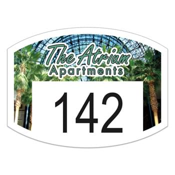 "Curved Rectangle White Vinyl Full Color Numbered Outside Parking Permit Decal (1 1/2""x2"")"