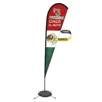 Promotional Premium Tear Drop Flag w/ 11' Scissor Base (2 sided)