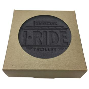 Set of 4 Black Leather Coasters w/ Natural Kraft Box